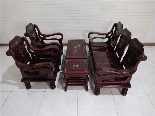 Bộ sofa gỗ Tràm bông vàng cũ SP009926