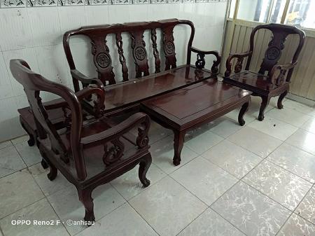 Bộ sofa gỗ cẩm lai cũ SP014118
